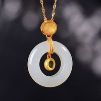 S925 Silver Inlaid Necklace-Hetian Jade Peace Ring Necklace-Green with Jasper Pendant