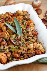 A tasty stuffing or dressing with Italian sausage, mushrooms and chestnuts that would make a perfect addition to any holiday dinner table.
