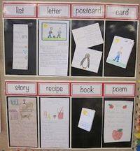 Cute idea for showing examples of different writing ideas for the kids. Printable titles for setting up the board.