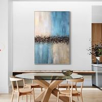 Abstract acrylic paintings on canvas art original painting Blue art texture painting Framed wall art Large wall art $123.75
