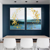 Set of 2 wall art abstract framed paintings on canvas original painting sea Gold fishes art blue large wall art wall pictures $176.50
