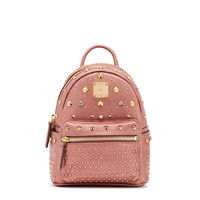 MCM X-Mini Stark Special Crystal Studded Backpack In Rose