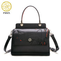 Pmsix 2017 New Women Genuine Leather Handbags Embossed Bamboo Luxury Designer Shoulder Bags Fashion Vintage Tote Bag P120066 $115.50