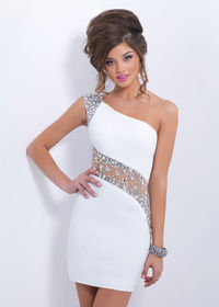Blush C153 One Shoulder White Jeweled Sheer Tight Homecoming Dress