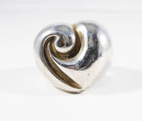 Sterling Silver Heart Ring, Size 7, Retro Modernist, Large Vintage 1980s 1990s ABstract Modern Jewelry, Gift for Her $48.00