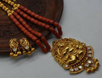Beautiful Real pagdam coral bal gopal indian temple jewellery set $367.00
