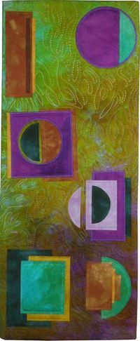 Floris Flam Art Quilts Floris specializes in a contemporary look, exploring color and shape. Her beautiful quilting adds another layer of texture and depth.