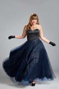 Navy Blue Star Paillette Sweetheart Lace-up Tulle Plus Size Prom Dress(