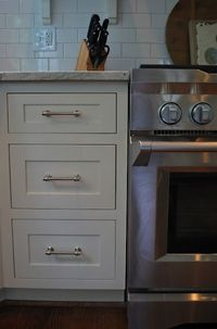 Really like drawer style and hardware. Mascarpone by Benjamin Moore #kitchen #paint