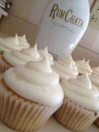 Yummy RumChata Cupcakes ~ RumChata is an interesting blend of Horchata mixed with Caribbean Rum with the added ingredients of real sweet dairy cream, cinnamon and a hint of coconut.