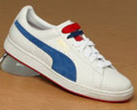 Puma The Basket Paris White/Blue Leather Trainer Puma The Basket Paris White/Blue Leather TrainerColourway; White Bright Cobalt Chinese RedWhite leather uppers with trademark Puma stripe in blue suede. White synthetic midsole over red outsole. P http://ww...