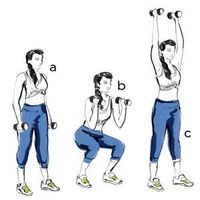 Holding dumbbells in both hands, stand with your feet shoulder-width apart (a). Bend your knees and lower your hips back into a deep squat until your thighs are