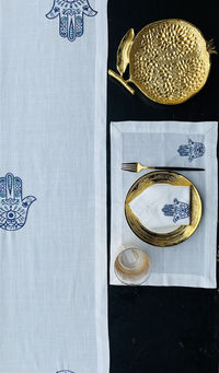 A breath taking embroidered blue Hamsa runner, placemats napkins Set $107.24