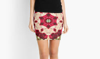 Red rose kaleidoscope floral pencil skirt