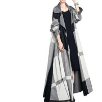 Winter Gray Plaid Wool Coat, Cashmere Coat, Women Coat, Plus Size Clothing, Long Coat, Winter Clothing