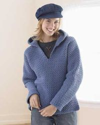 Crochet a hooded sweatshirt with stylish v-neck with this free sweater crochet pattern. This intermediate pattern uses chunky yarn for a quick result.