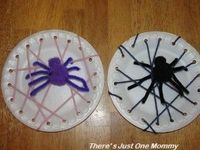 This paper plate spider web craft and pom-pom spider craft are perfect for Halloween or any time.