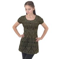Exotic Gold Black Dream Puff Sleeve Tunic Top