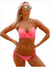 Striped Detail Bright Coral Bikini Swimsuit $39.00