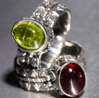 Rings in assorted Sterling Silver, choice of semi-precious cabochon