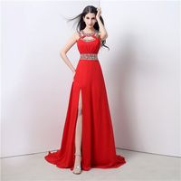 A Line Cut Outs High Slit Long Red Chiffon Beaded Prom Dress With Straps