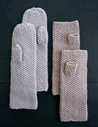 Seed Stitch Mittens And Hand Warmers - Free Knitted Pattern - (purlbee)