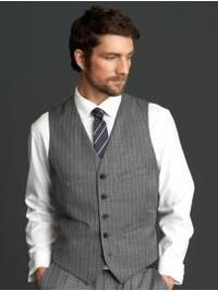 I'm thinking something like this. I haven't decided if I want a bow tie or a regular tie. Or if I'm going with just the vest or with a jacket. I also want to go with a lighter grey to look more like my silver.