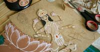 Lakshmi the Goddess of Wealth and Beauty - Articulated Paper Doll by Dubrovskaya. Kraft paper, hand painted, MADE TO ORDER.. $29.00 USD, via Etsy.