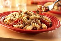 It couldn't be easier...the pasta cooks together in the same pan with the meat sauce...for a quick meal.