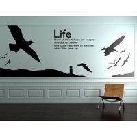 """Description: Size : 118""""x 82"""" Category : Wall Quotes Sticker Material : Vinly Wall Sticker Room :bedroom, living room Color:Black Includes:Gulls, Words, Moutain, tower"""
