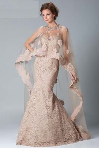 Gorgeous Wrap Champagne Sweetheart Long Lace Trumpet Mermaid Prom Evening Dress