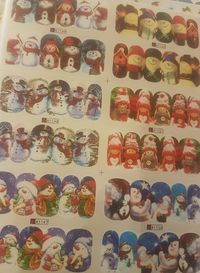 Pack of 2 Sheets of Christmas Nail Art Stickers. Assorted Xmas Designs. 24 Sets. 240 Stickers. £6.99