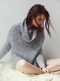 Dylan Tweedy Pullover | Soft, chunky turtleneck sweater. Rounded hem with subtle side vents.