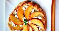 Grilled Peach Pizza with Goat Cheese & Honey (Brie cheese and bacon with peaches would be good too)