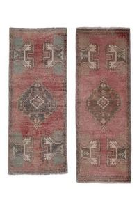 "Distressed Turkish Small Rug - Set of Two 1'6"" X 3'7"""