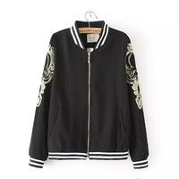 Gold Lace Embroidery Sleeves Black Stand Collar Jacket for Women 2015