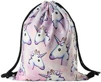 Ababalaya 3D Print Drawstring Backpack Rucksack Shoulder Bags Gym Bag, unicorn 1 $6.85