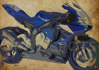 2015 YAMAHA YZF-R1, 12x8.50 in to 60x42 in. Original Art, Original gift for bikers, Vintage background, almost abstract bike, black back $31.00