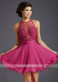 Romantic Fitted Illusion Bodice Rose Pleated Waist Homecoming Dress