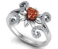 Curved Flower Leaf Ring Two Tone Rose & White Gold $829.00