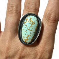 Chunky Silver Boho Turquoise Ring Size 9 3/4 | Paradise Nevada Natural Stone | Sterling Silver $59.99