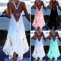 Women's Sexy Summer Backless Lace Crochet Evening Dress Plus Size Available S - 5XL $29.99
