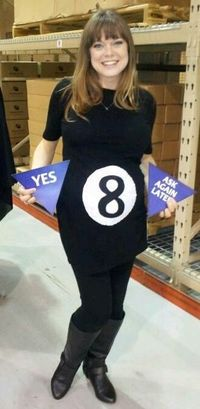 This is such a great costume! My friend is pregnant and she puts the triangles behind her and when you ask a question, she shakes her belly and pulls out her Magic Eight Ball answer!!