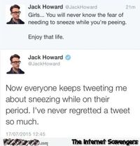 Funny I never regretted a tweet so much #funny #humor #funnyTweet #PMSlweb