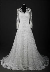 Classic A Line Scalloped Neck Lace Wedding Dress With Sleeves