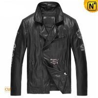 Mens Black Calfskin Leather Moto Biker Jacket CW850129