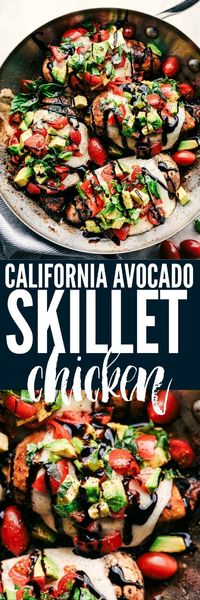 California Avocado Skillet Chicken is marinated in honey balsamic and cooked in the skillet to tender and juicy perfection. Topped with ooey gooey cheese, tomato and avocado this will become a family favorite!
