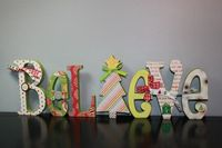 Wood letters covered with scrap paper, great use for it!