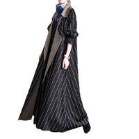Winter Black strips Wool Coat, Cashmere Coat, Women Coat, Plus Size Clothing, Long Coat, Winter Clothing