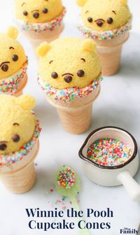 Create these Winnie the Pooh Cupcake Cones in honor of one of the best (and cutest) Disney characters. In this adorable dessert, ice cream is replaced by fluffy chiffon cake. Click for the Winnie the Pooh recipe.